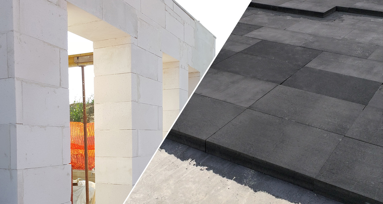 Gasbeton walls and floor insulation with Bacchi glass-cell