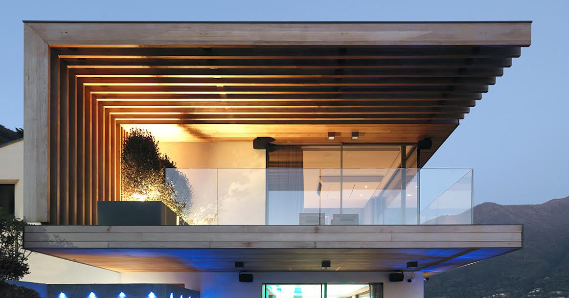 Contemporary architecture with a glass balustrade