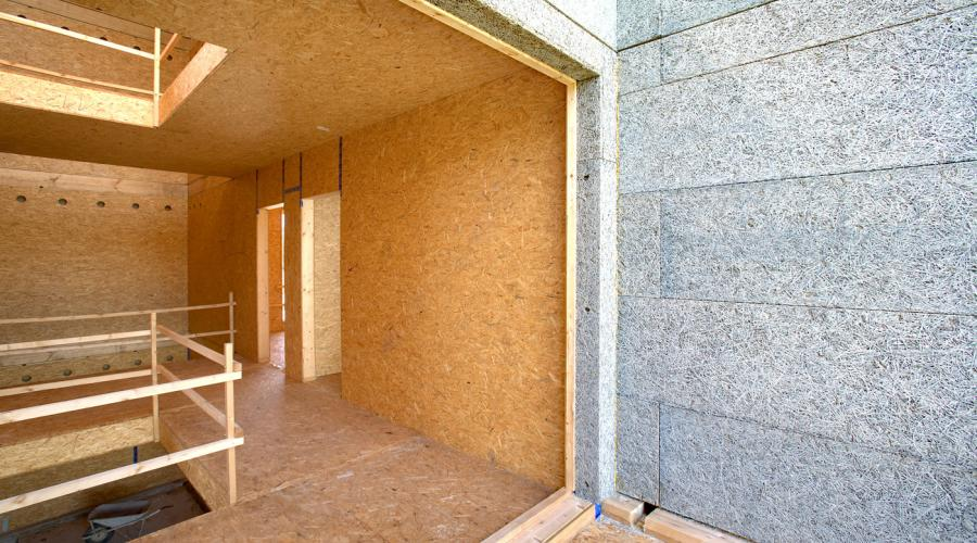 X-lam wood frame and rock wool insulation