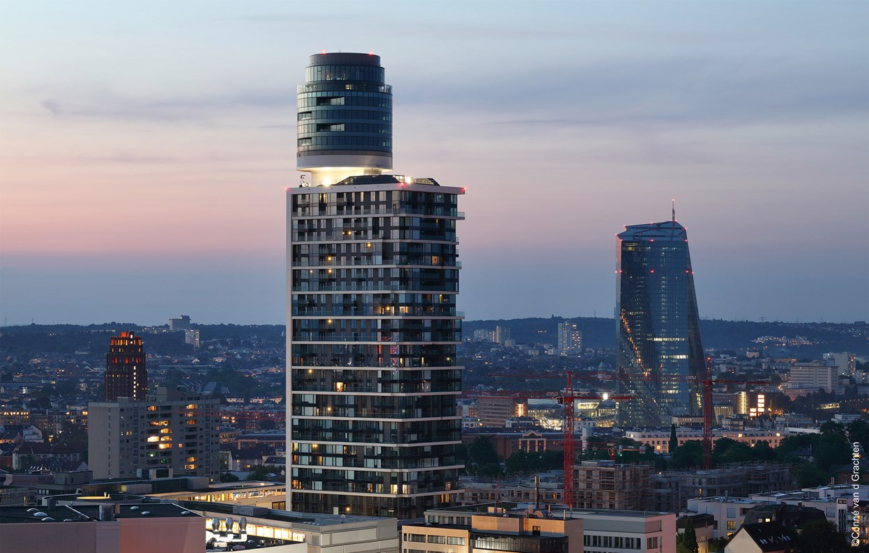 Henninger Tower of Frankfurt with Wicona glass elements