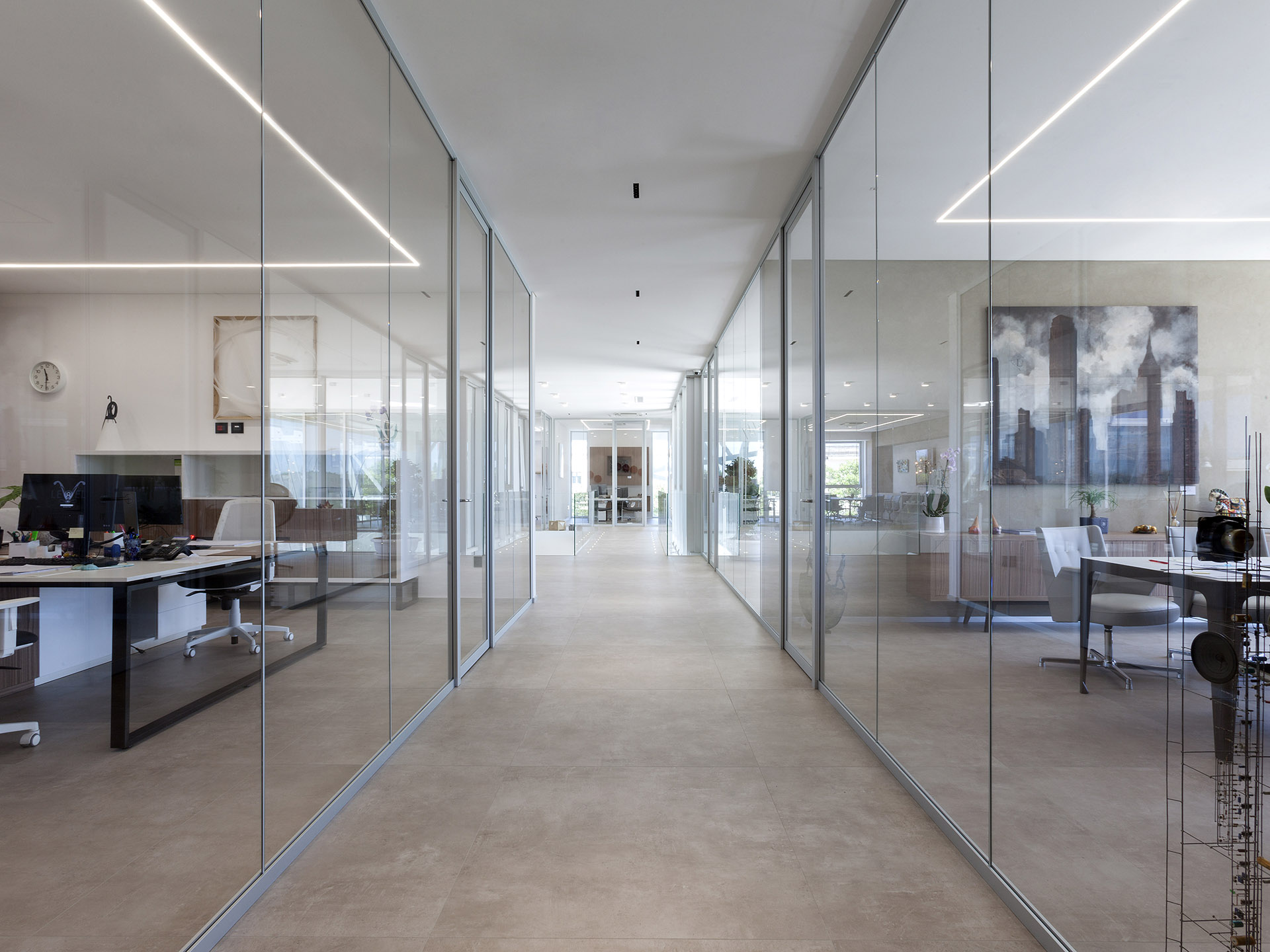 Office interior with transparent partitions