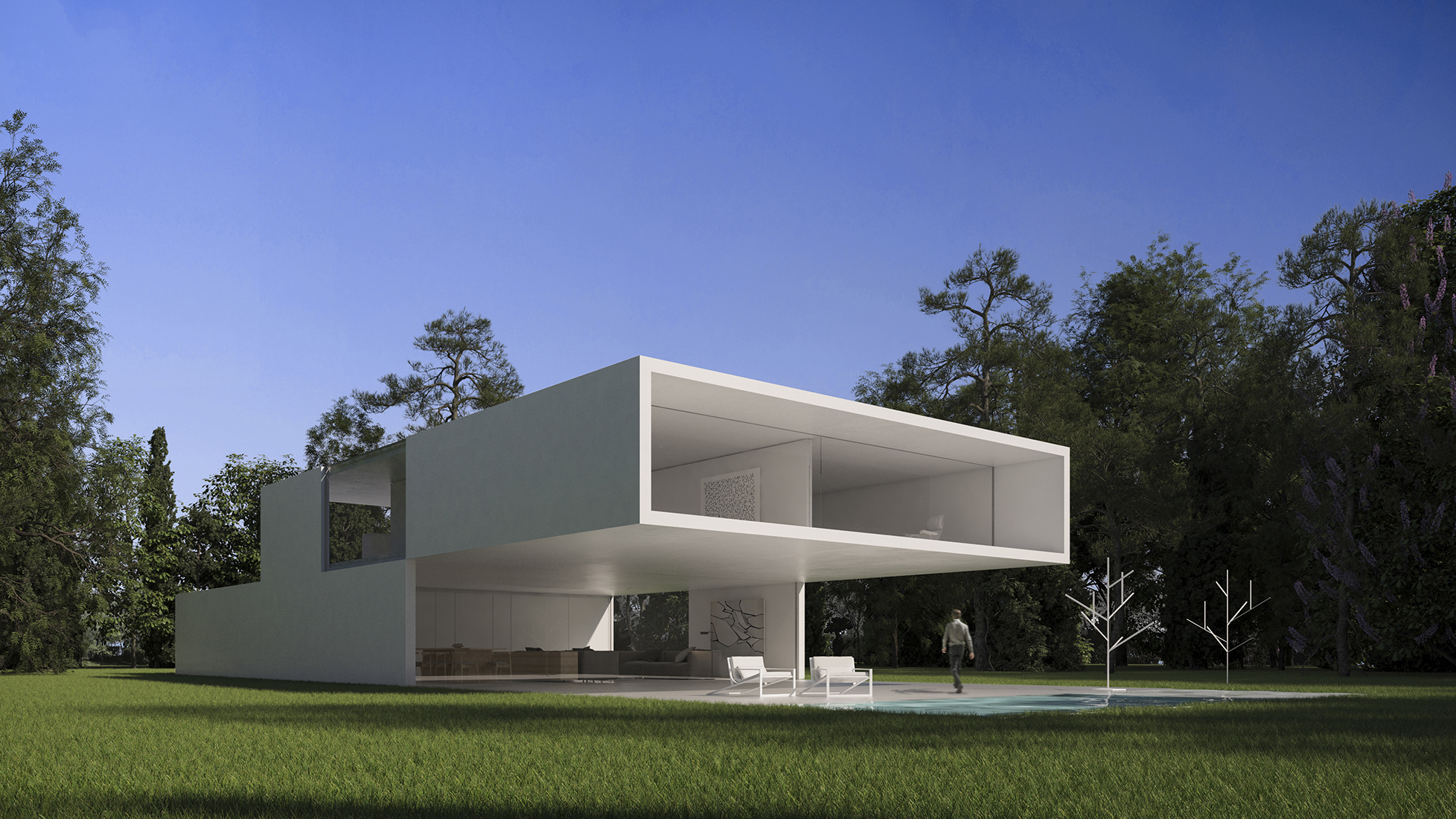 minimalist house girona spain cantilevered concrete structure